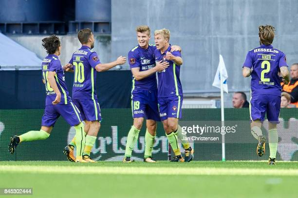 The players of FC Midtjylland celebrate after the 22 goal from Rasmus Nissen during the Danish Alka Superliga match between FC Copenhagen and FC...