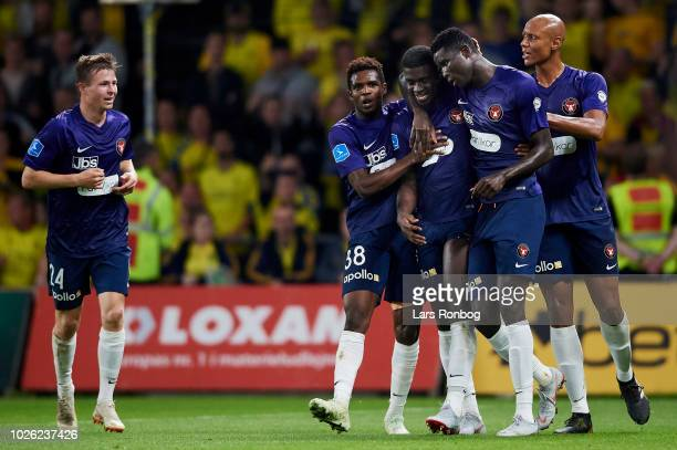 The players of FC Midtjylland celebrate after the goal scored by Mayron George during the Danish Superliga match between Brondby IF and FC...