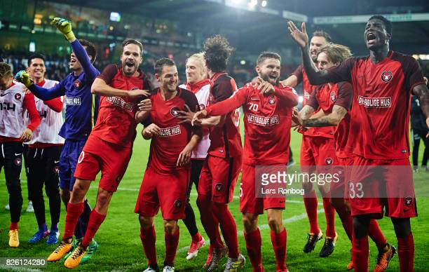 The players of FC Midtjylland celebrate after the UEFA Europa League Qualification 3rd round 2th leg match between FC Midtjylland and Arka Gdynia at...
