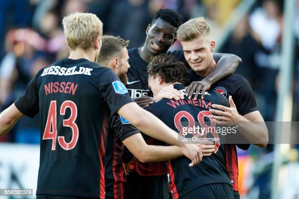 The players of FC Midtjylland celebrate the 41 goal from Gustav Wikheim during the Danish Alka Superliga match between FC Midtjylland and AaB Aalborg...