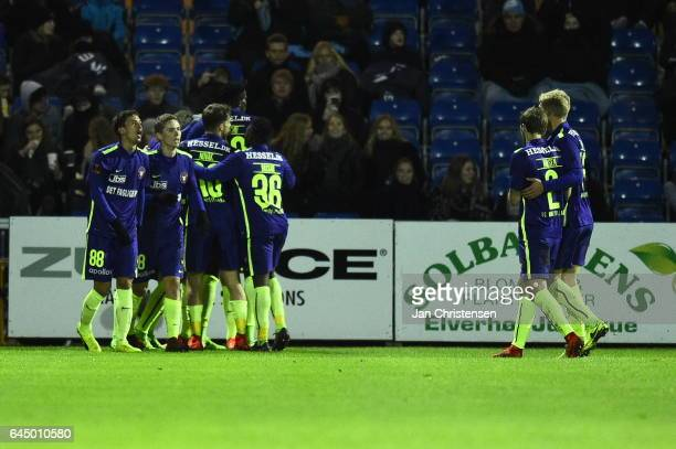 The players of FC Midtjylland celebrates the 01 goal from Mikkel Duelund during the Danish Alka Superliga match between Randers FC and FC Midtjylland...