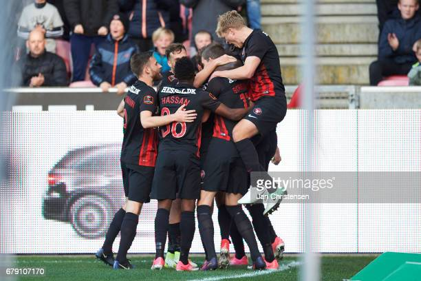 The players of FC Midtjylland celebrates the 10 goal from Jakob Poulsen during the Danish Cup DBU Pokalen semifinal match between FC Midtjylland and...