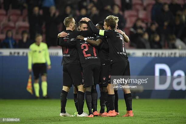 The players of FC Midtjylland celebrating the 20 goal from Martin Pusic during the Danish Alka Superliga match between FC Midtjylland and Hobro IK at...