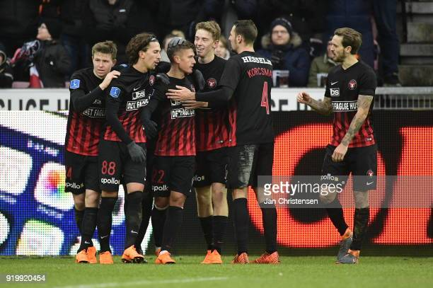 The players of FC Midtjylland celebrating the 21 goal from Mikkel Duelund during the Danish Alka Superliga match between FC Midtjylland and FC...