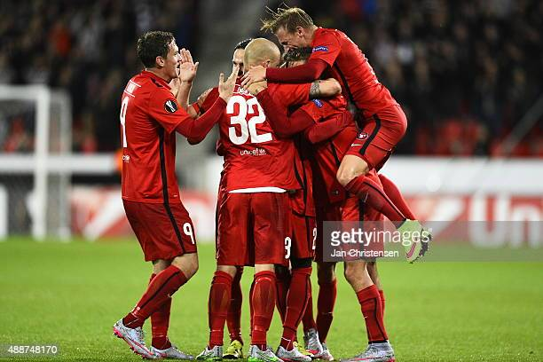The players of FC Midtjylland celebrating the selfgoal from Legia Warszawa during the UEFA Europa League Group Play match between FC Midtjylland and...