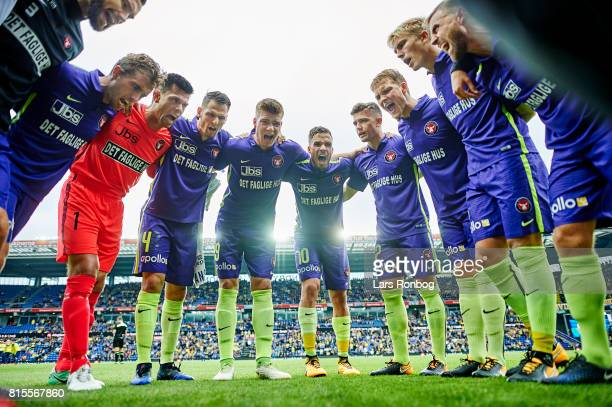The players of FC Midtjylland huddle prior to the Danish Alka Superliga match between Brondby IF and FC Midtjylland at Brondby Stadion on July 16...