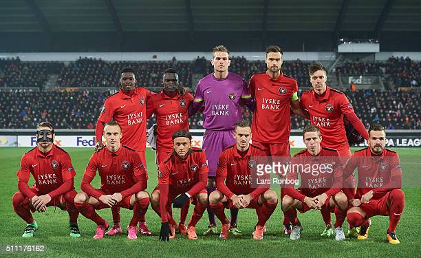 The players of FC Midtjylland pose for a group photo prior to the UEFA Europa League match between FC Midtjylland and Manchester United at MCH Arena...