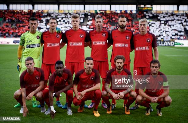 The players of FC Midtjylland pose for a group picture prior to the UEFA Europa League Playoff 2nd Leg match between FC Midtjylland and Apollon...
