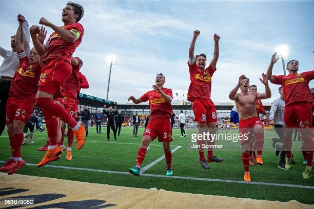 The players of FC Nordsjaelland celebrates their third place in the Danish Alka Superliga match between FC Nordsjalland and FC Copenhagen at Right to...