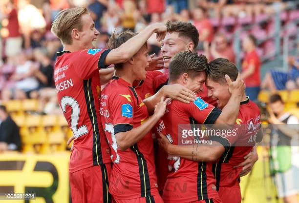 The players of FC Nordsjalland celebrate after the 10 goal scored by Magnus Kofod Andersen of FC Nordsjalland during the UEFA Europa League Qual...