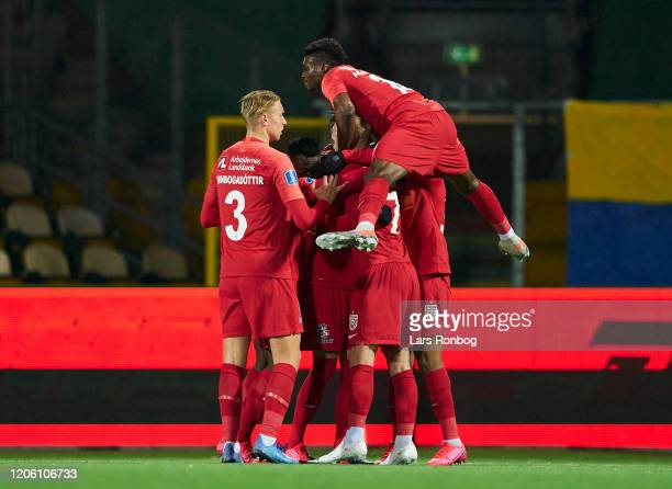 The players of FC Nordsjalland celebrate after the 11 goal scored by Mikkel Damsgaard during the Danish 3F Superliga match between FC Nordsjalland...