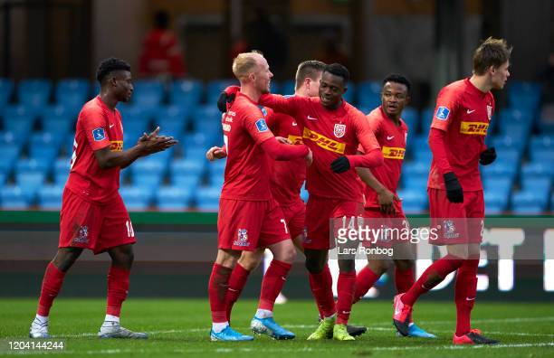 The players of FC Nordsjalland celebrate after the 21 goal scored by Mikkel Rygaard during the Danish 3F Superliga match between Esbjerg fB and FC...