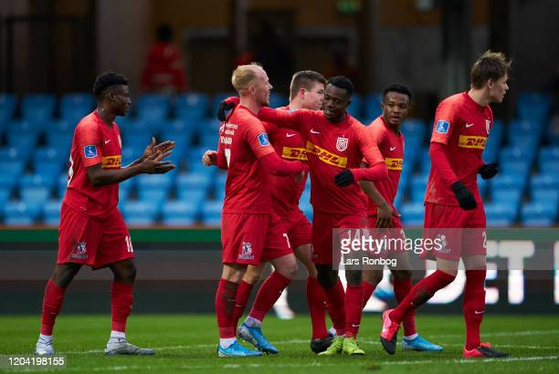The players of FC Nordsjalland celebrate after the 2-1 goal scored by Mikkel Rygaard during the Danish 3F Superliga match between Esbjerg fB and FC...