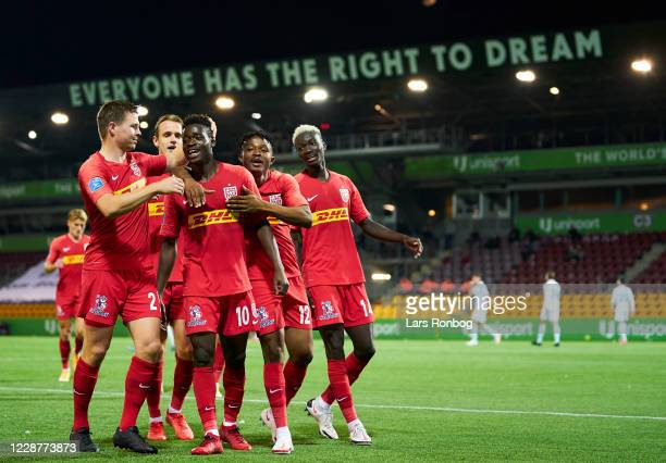The players of FC Nordsjalland celebrate after the 2-1 goal scored by Kamal-Deen Sulemana during the Danish 3F Superliga match between FC...
