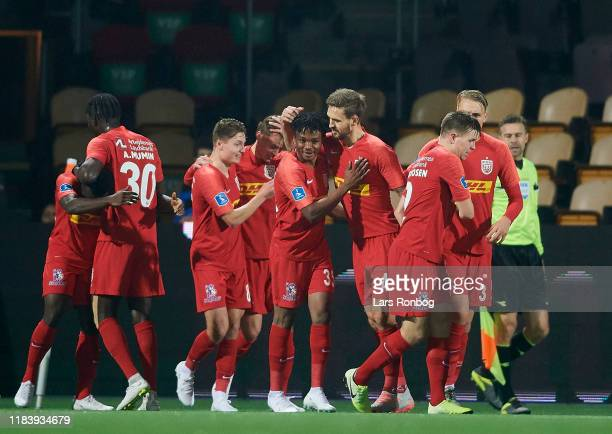 The players of FC Nordsjalland celebrate after the 30 goal scored by Isaac Atanga during the Danish 3F Superliga match between FC Nordsjalland and...