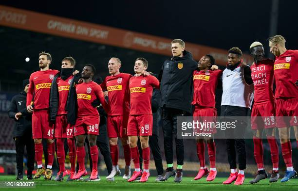 The players of FC Nordsjalland celebrate after the Danish 3F Superliga match between FC Nordsjalland and AC Horsens at Right to Dream Park on...