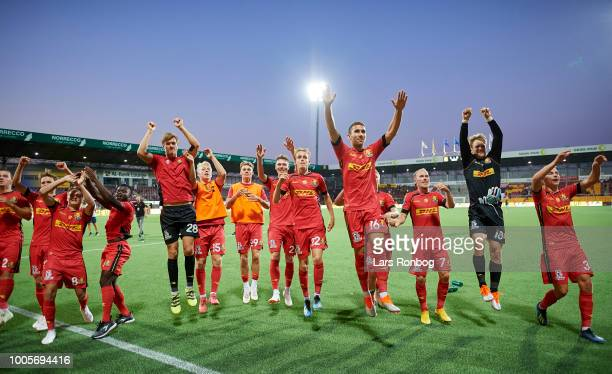 The players of FC Nordsjalland celebrate after the UEFA Europa League Qual match between FC Nordsjalland and AIK Stockholm at Right to Dream Park on...