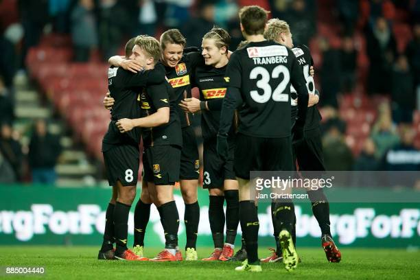 The players of FC Nordsjalland celebrates after the Danish Alka Superliga match between FC Copenhagen and FC Nordsjalland at Telia Parken Stadium on...