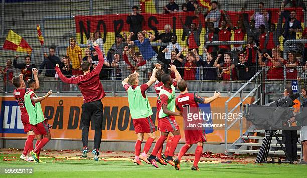 The players of FC Nordsjalland celebrating with fans after the Danish Alka Superliga match between Lyngby BK and FC Nordsjalland at Lyngby Stadion on...