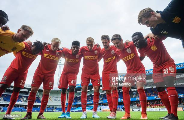 The players of FC Nordsjalland huddle prior to the Danish 3F Superliga match between Randers FC and FC Nordsjalland at Cepheus Park on August 4 2019...