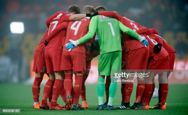 The players of FC Nordsjalland huddle prior to the Danish Alka Superliga match between FC Nordsjalland and FC Midtjylland at Right to Dream Park on...