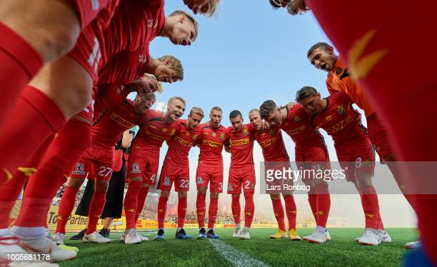 The players of FC Nordsjalland huddle prior to the UEFA Europa League Qual match between FC Nordsjalland and AIK Stockholm at Right to Dream Park on...