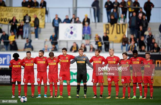 The players of FC Nordsjalland in one minute respect for former AC Horsens players prior to the Danish Alka Superliga match between AC Horsens and FC...