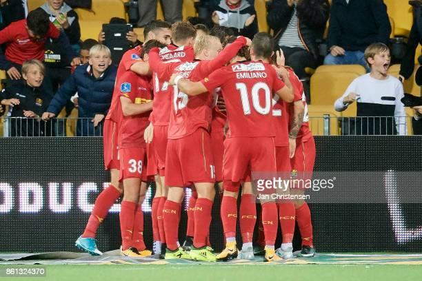 The players of FC Nordsjælland celebrate after the 32 goal from Nikolai Baden Frederiksen of FC Nordsjalland during the Danish Alka Superliga match...
