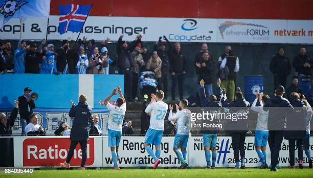 The players of FC Roskilde celebrate with the fans after the danish NordicBetLigaen 1 division match between FC Roskilde and Skive IK at Roskilde...
