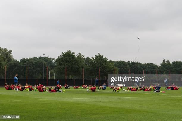 the players of FC Twente at the cooling downduring a training session at Trainingscentrum Hengelo on June 24 2017 in Hengelo The Netherlands