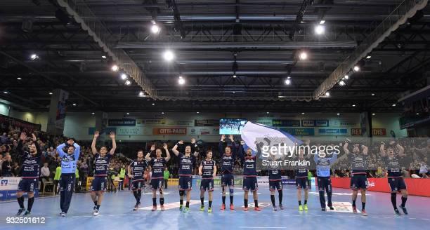 The players of Flensburg celebrate their winning the DKB Bundesliga Handball match between SG FlensburgHandewitt and Fuechse Berlin at FlensArena on...