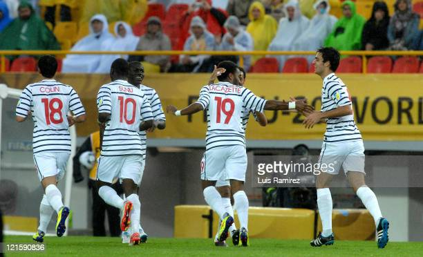The Players of France celebrate a goal scored during a match for the finals between France and Mexico as part of the FIFA U20 World Cup 2011 the...