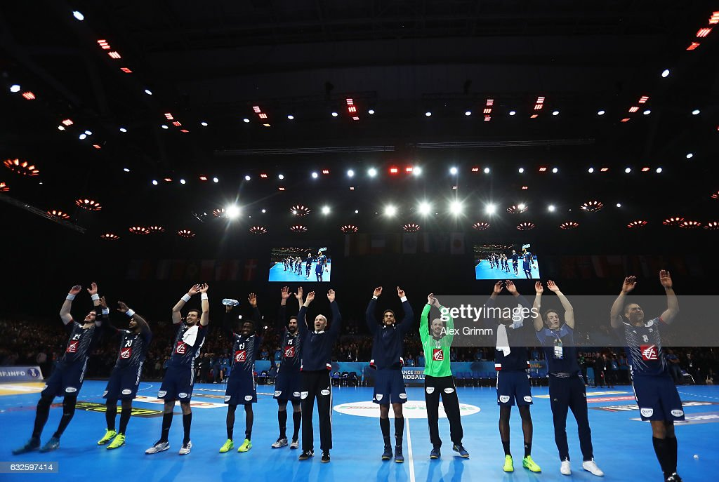 The players of France celebrate after winning the 25th IHF Men's World Championship 2017 Quarter Final match between France and Sweden at Stade Pierre Mauroy on January 24, 2017 in Lille, France.