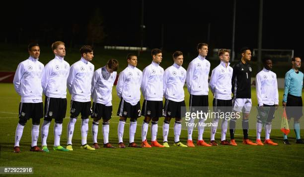 The Players of Germany and Portugal line up for the National Anthems during the International Match between Germany U17 and Portugal U17 at St...