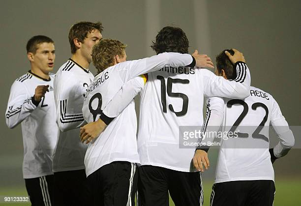 The players of Germany celebrate a goal during the UEFA U21 Championship match between San Marino and Germany at Olimpico stadium on November 17,...