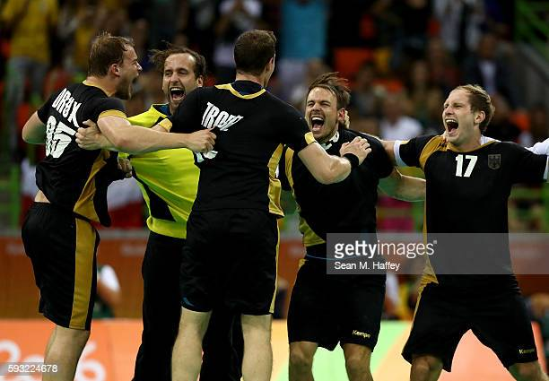 The players of Germany celebrate their victory following the Men's Bronze Medal Match between Poland and Germany on Day 16 of the Rio 2016 Olympic...