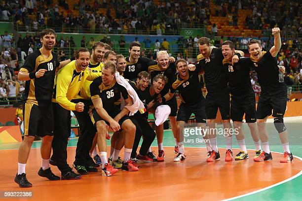The players of Germany celebrates their victory following the Men's Bronze Medal Match between Poland and Germany on Day 16 of the Rio 2016 Olympic...