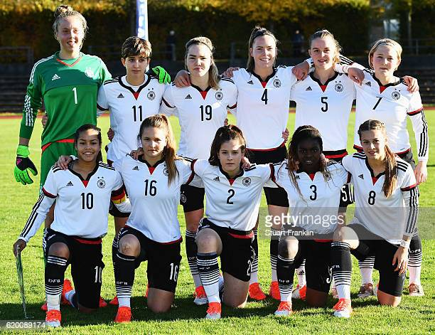 The players of Germany line up during the International Friendly match between U16 Girl's Germany and U16 Girl's Denmark on November 1 2016 in...