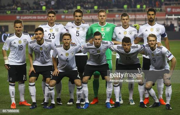 The players of Germany line up for a photograph during the FIFA 2018 World Cup Qualifing Group C between Azerbaijan and Germany at Tofiq Bahramov...