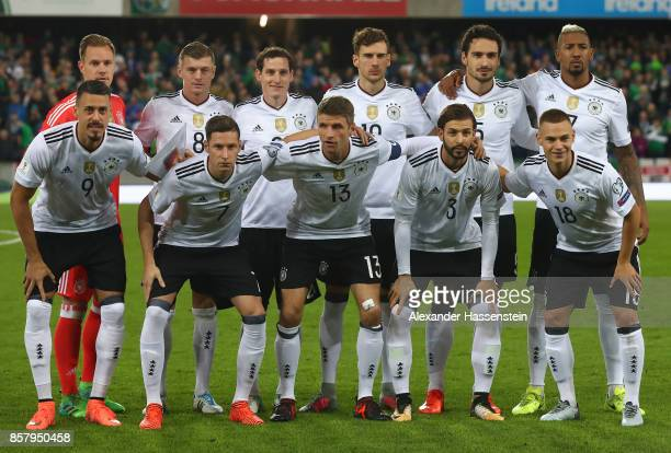 The players of Germany line up for a team picture during the FIFA 2018 World Cup Qualifier between Northern Ireland and Germany at Windsor Park on...