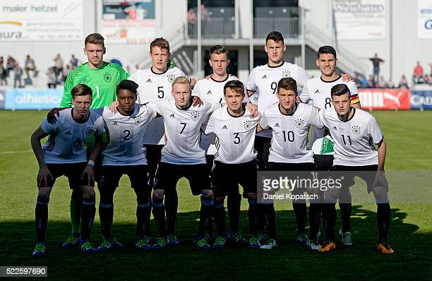 The players of Germany pose prior to the U18 International Friendly match between Switzerland and Germany on April 20 2016 in Grenchen Switzerland