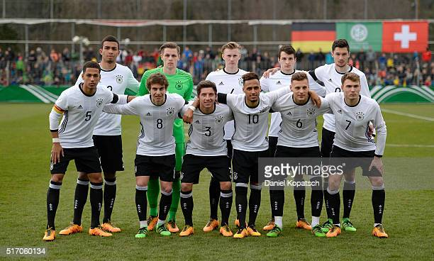 The Players of Germany pose prior to the U20 International Friendly match between Germany and Switzerland at Moeslestadion on March 23 2016 in...