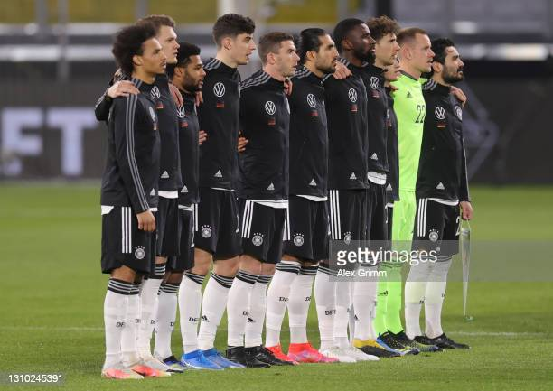 The players of Germany sing their national anthem prior to the FIFA World Cup 2022 Qatar qualifying match between Germany and North Macedonia at...