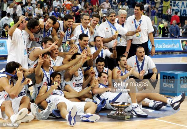 The players of Greece pose with the cup after winning the FIBA EuroBasket 2005 final match between Greece and Germany on September 25 2005 in...