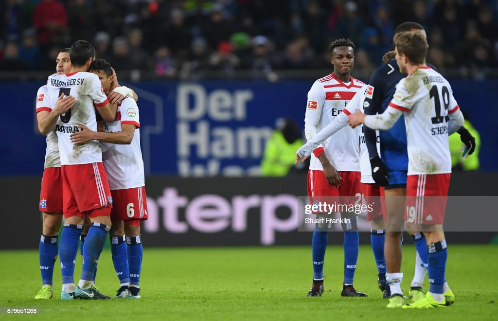 The players of Hamburg celebrate after the Bundesliga match between Hamburger SV and TSG 1899 Hoffenheim at Volksparkstadion on November 26, 2017 in Hamburg, Germany.