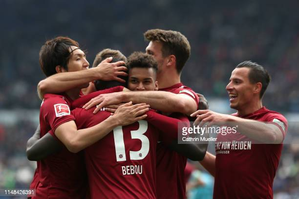 The players of Hannover 96 celebrate after scoring during the Bundesliga match between Hannover 96 and Sport-Club Freiburg at HDI-Arena on May 11,...