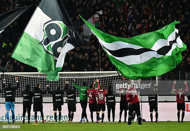 The players of Hannover celebrate at the end of the Second Bundesliga match between Hannover 96 and 1 FC Kaiserslautern at HDIArena on January 30...