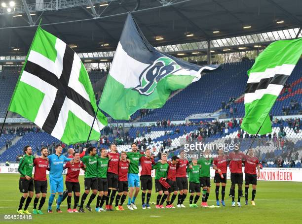 The players of Hannover celebrate at the end of the Second Bundesliga match between Hannover 96 and 1 FC Nuernberg at HDIArena on April 4 2017 in...