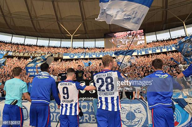 The players of Hertha BSC celebrate the home victory with the fans during the Bundesliga match between Hertha BSC and Hamburger SV on October 3 2015...