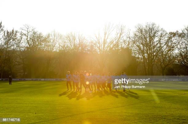 The players of Hertha BSC run during the training on November 29 2017 in Berlin Germany